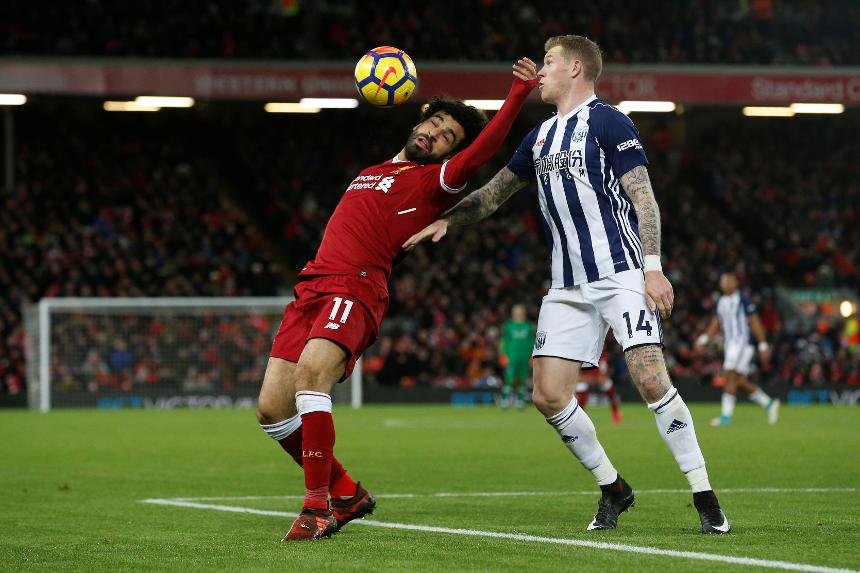 Mohamed Salah and James McClean - Liverpool vs West Bromwich Albion