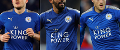 Leicester City's Harry Maguire, Riyad  Mahrez and Jamie Vardy