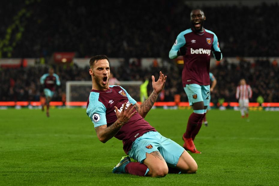 Stoke City v West Ham United - Marko Arnautovic celebrates