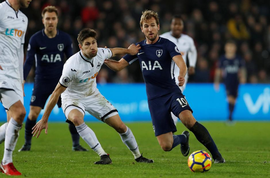 Tottenham Hotspur striker Harry Kane in action against Swansea City