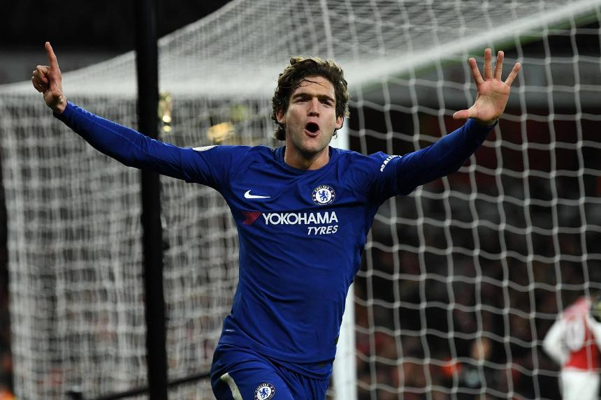Marcos Alonso scored Chelsea's second goal against Arsenal