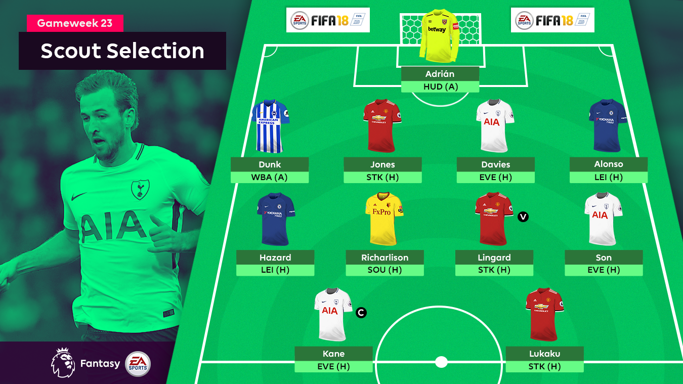 A graphic of the FPL Gameweek 23 Scout Selection