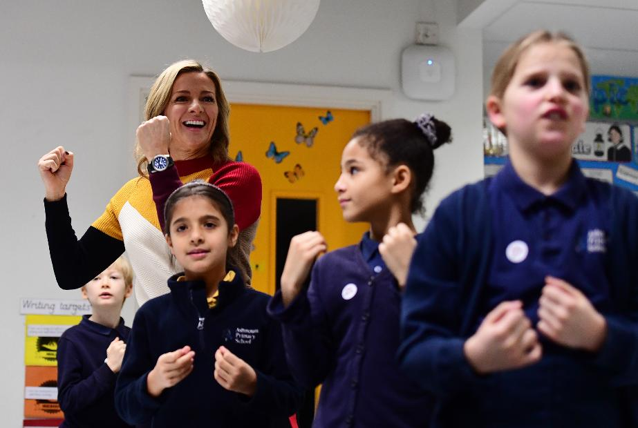 Gabby Logan, Super Movers launch, Ashmount Primary School