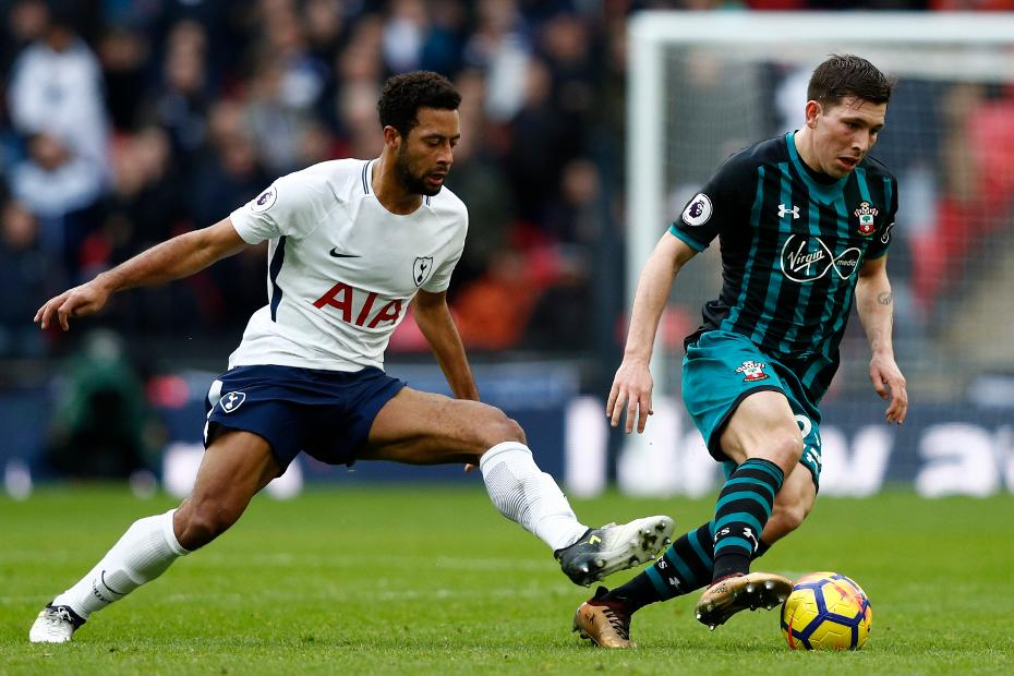 Spurs' Mousa Dembele and Pierre-Emile Hojbjerg of Southampton