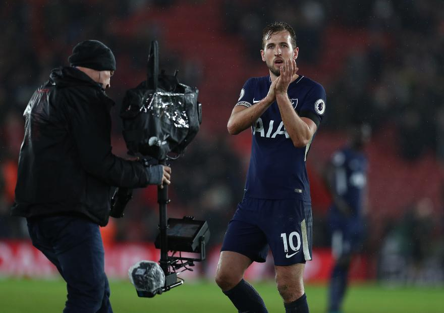 Spurs striker Harry Kane is filmed by the television camera
