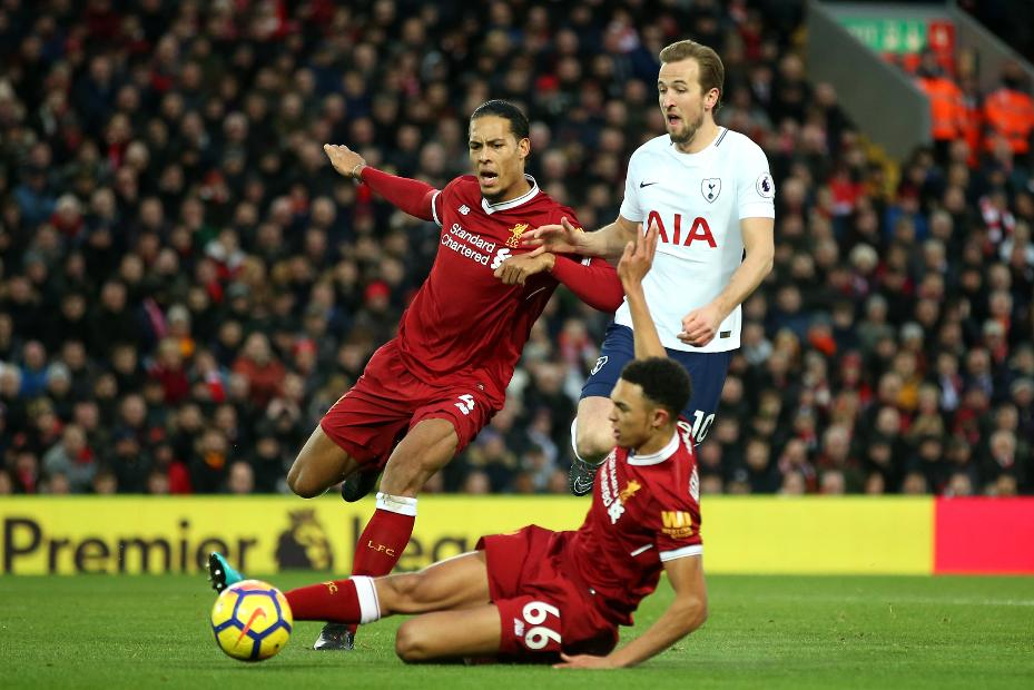 Harry Kane, Spurs with Virgil van Dijk and Trent Alexander-Arnold, Liverpool
