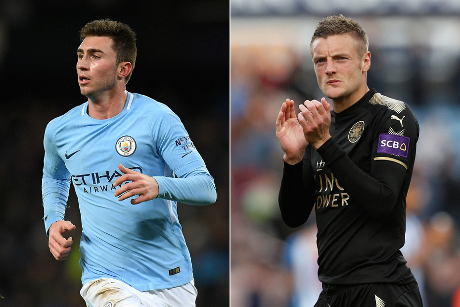 Aymeric Laporte, Manchester City, and Leicester City's Jamie Vardy