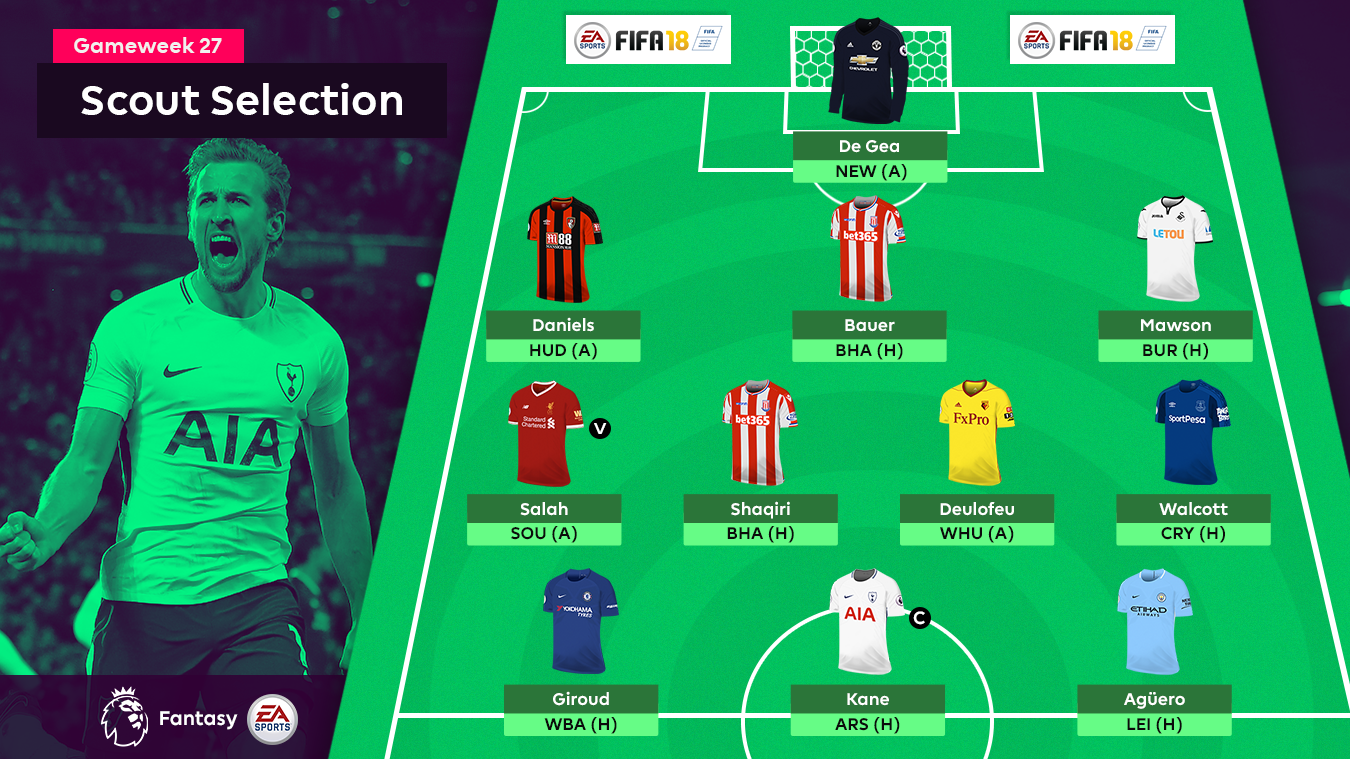 A graphic of the FPL Gameweek 27 Scout Selection