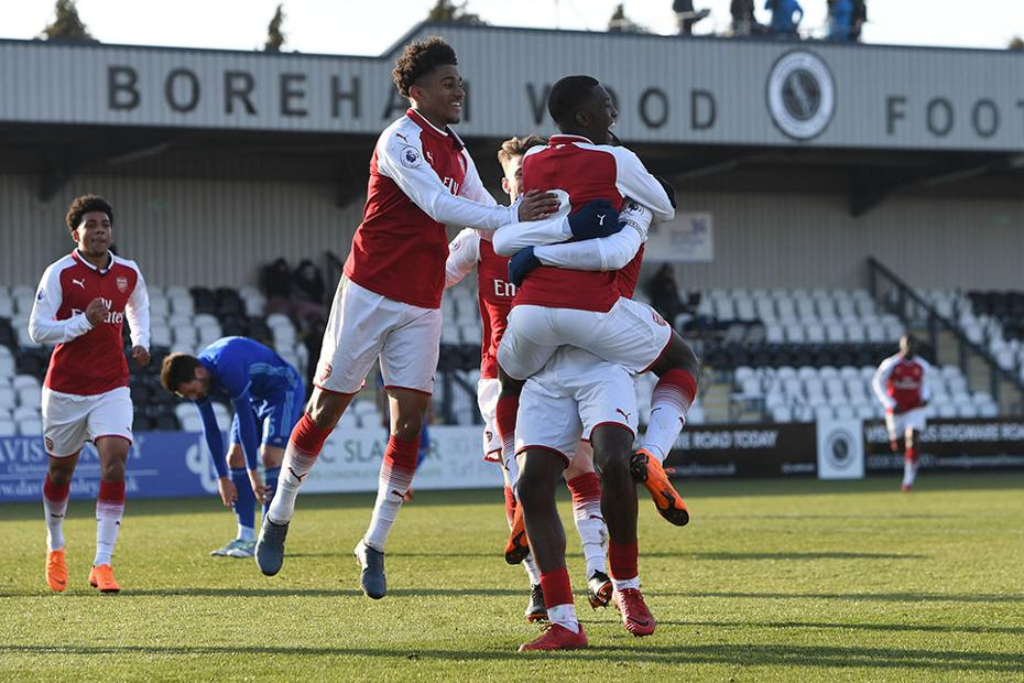 Arsenal's PL International Cup players celebrate