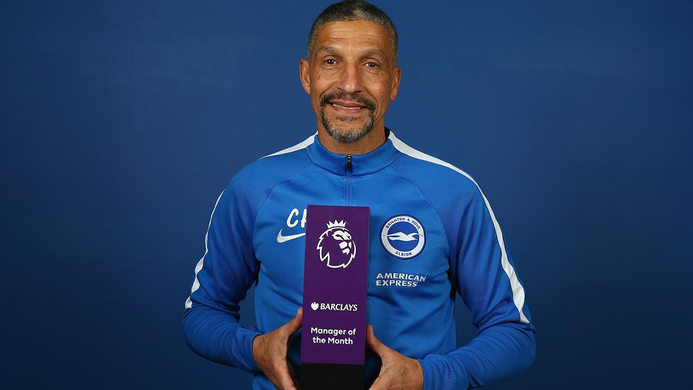 Chris Hughton wins Barclays Manager of the Month award