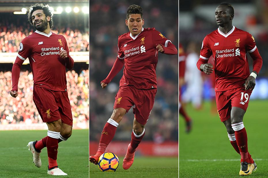 Mohamed Salah, Roberto Firmino and Sadio Mane, Liverpool