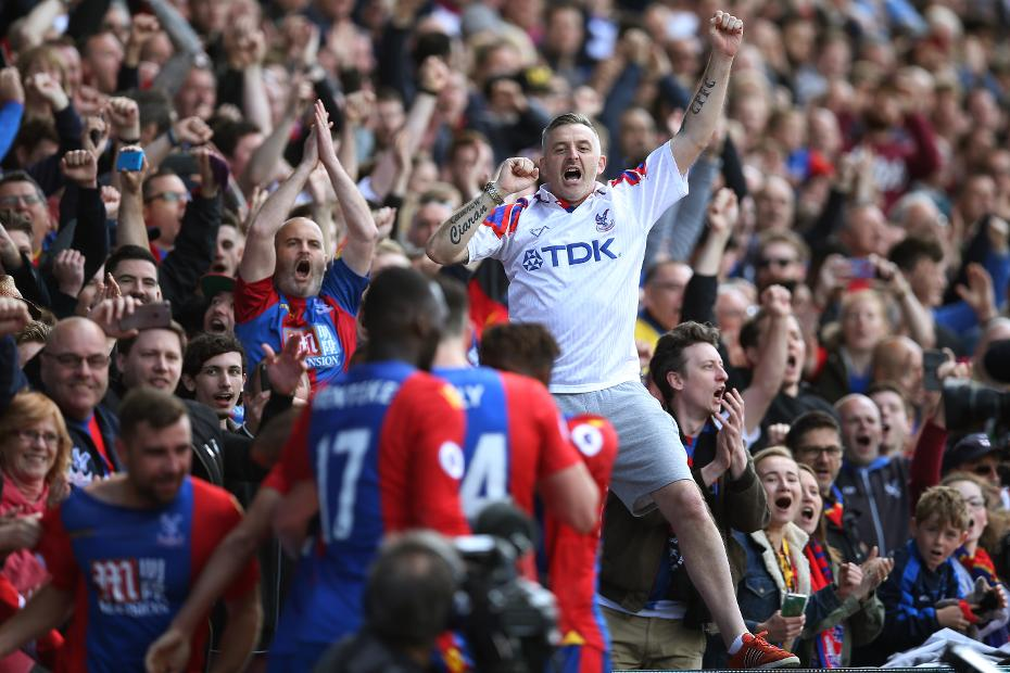 Crystal Palace fan celebrates