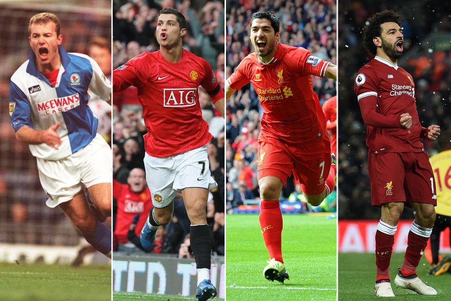 A graphic of Shearer, Ronaldo, Suarez and Salah