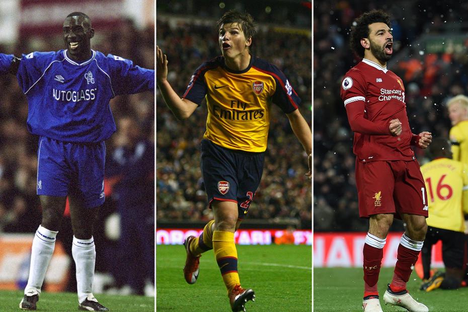Jimmy Floyd Hasselbaink, Andriy Arshavin and Mohamed Salah