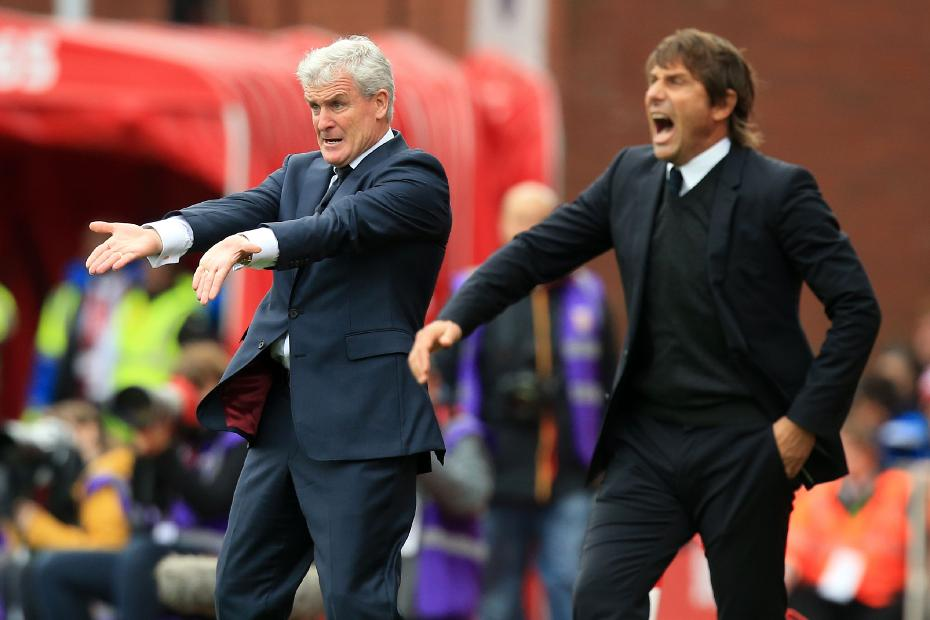 Mark Hughes, of Southampton, and Antonio Conte, of Chelsea