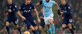 Spurs striker Harry Kane and Nicolas Otamendi of Manchester City