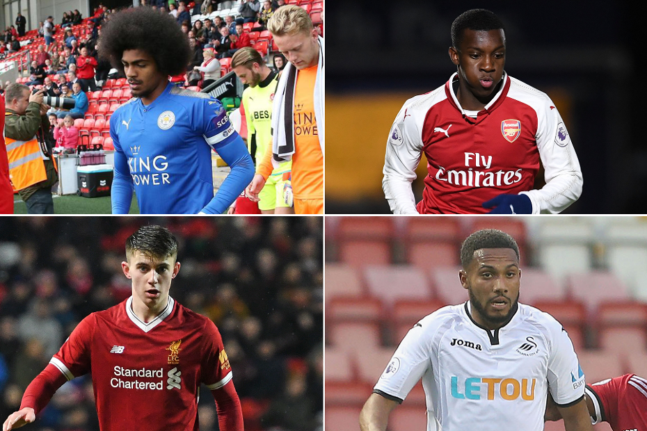 PL2 title race, a composite of Leicester's Hamza Choudhury, Arsenal's Eddie Nketian, Liverpool's Ben Woodburn and Swansea's Kenji Gorre
