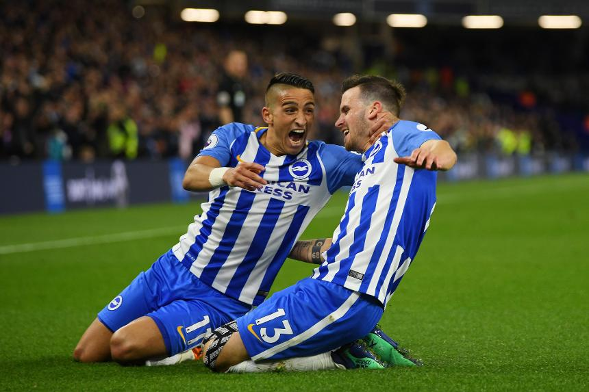 Brighton and Hove Albion v Manchester United - Anthony Knockaert and Pascal Gross
