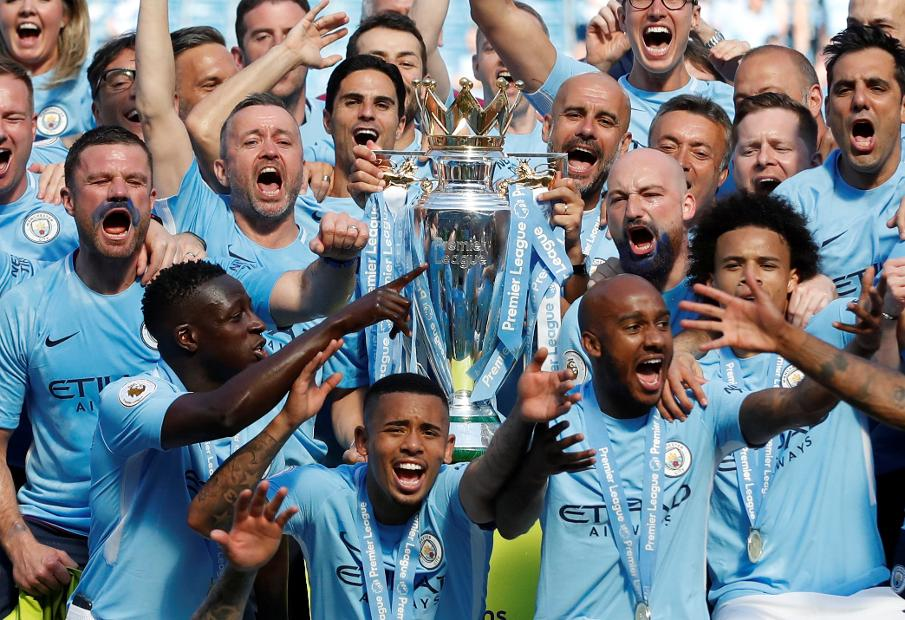 Manchester City lift Premier League Trophy