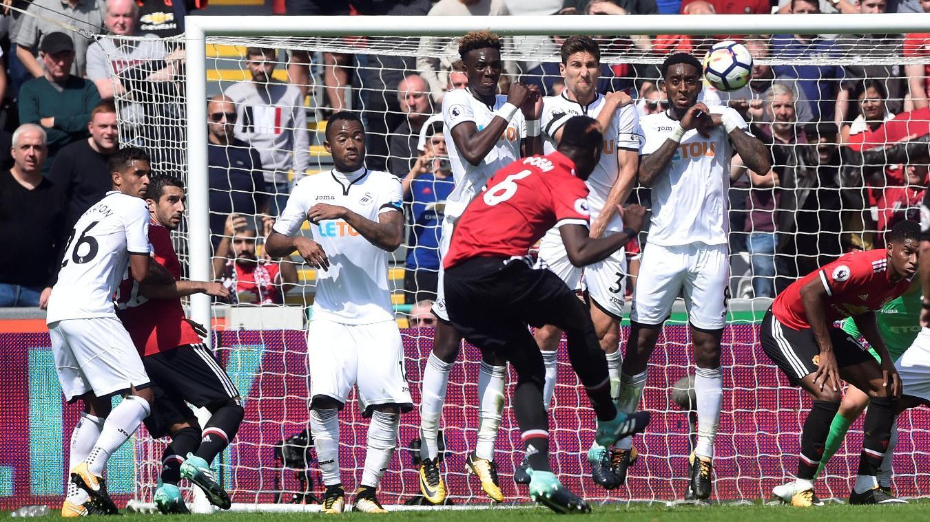 Paul Pogba shoots at goal against Swansea City