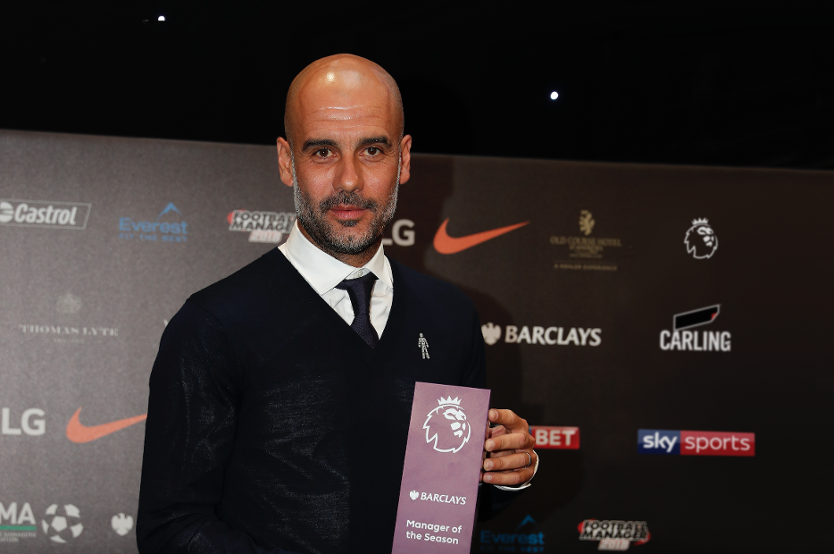 Pep Guardiola Barclays Manager of the Season