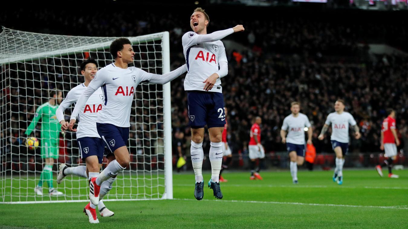 Christian Eriksen jumps for joy after giving Spurs a perfect start