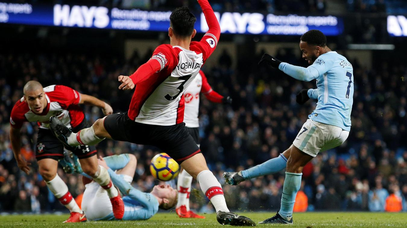 Raheem Sterling fires home in the 96th minute against Southampton