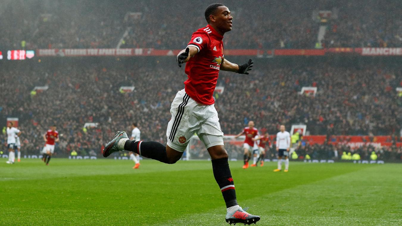 Anthony Martial celebrates his decisive strike at Old Trafford