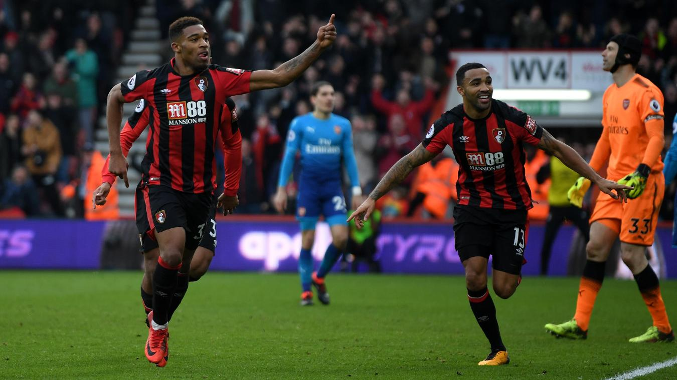 Jordon Ibe, left, runs to the crowd after completing the turnaround