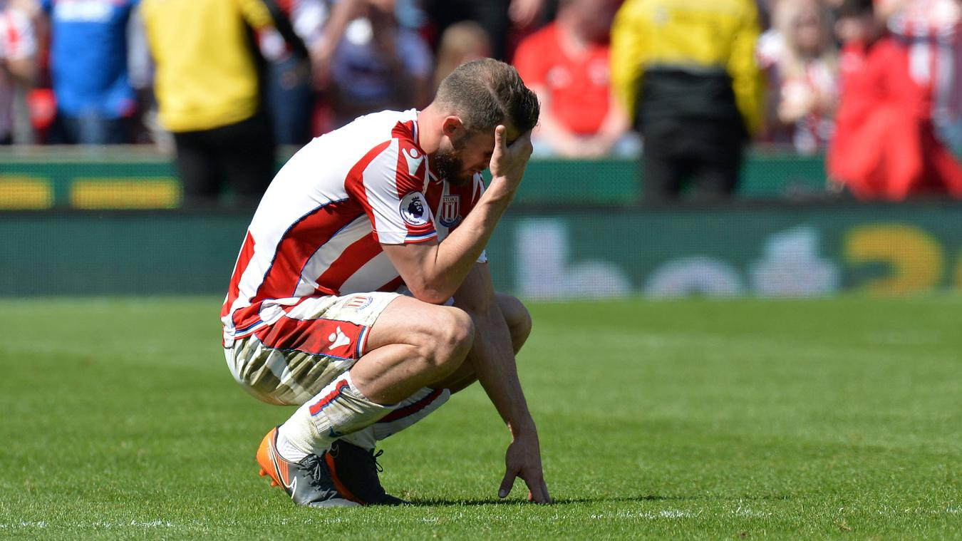 Erik Pieters struggles to come to terms with the Potters' relegation