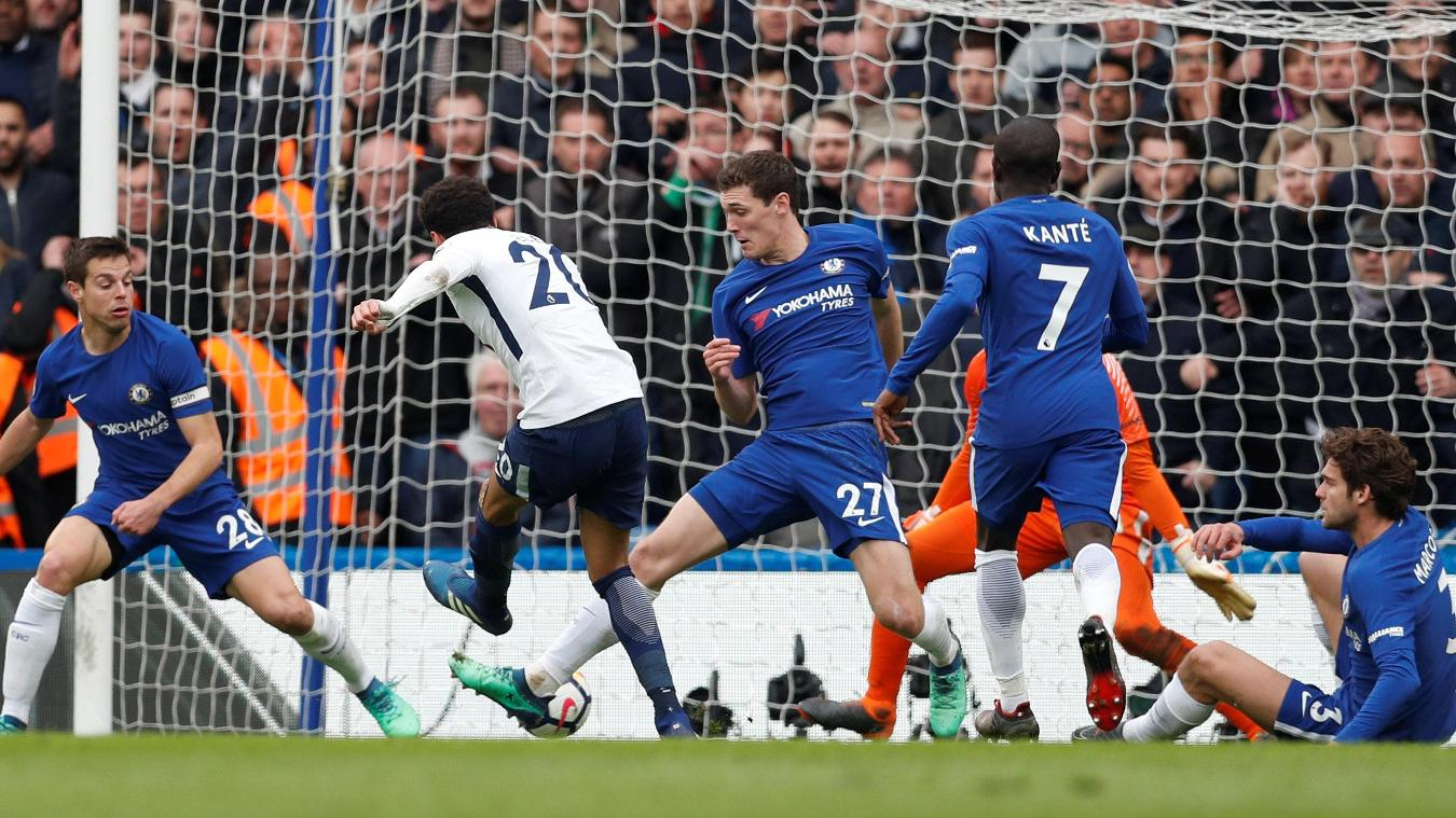 Dele Alli's second strike gives Spurs a two-goal cushion at Stamford Bridge