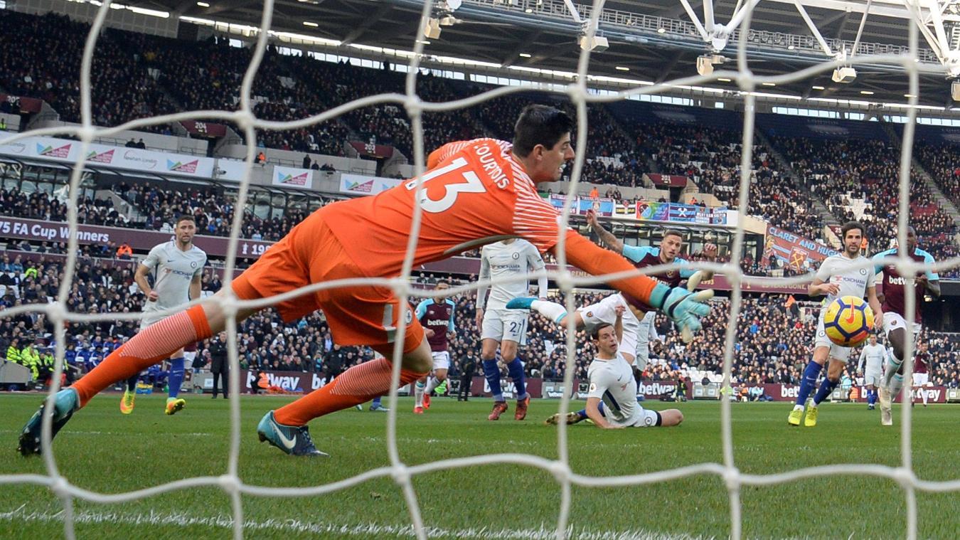 Marko Arnautovic places the ball past Thibaut Courtois