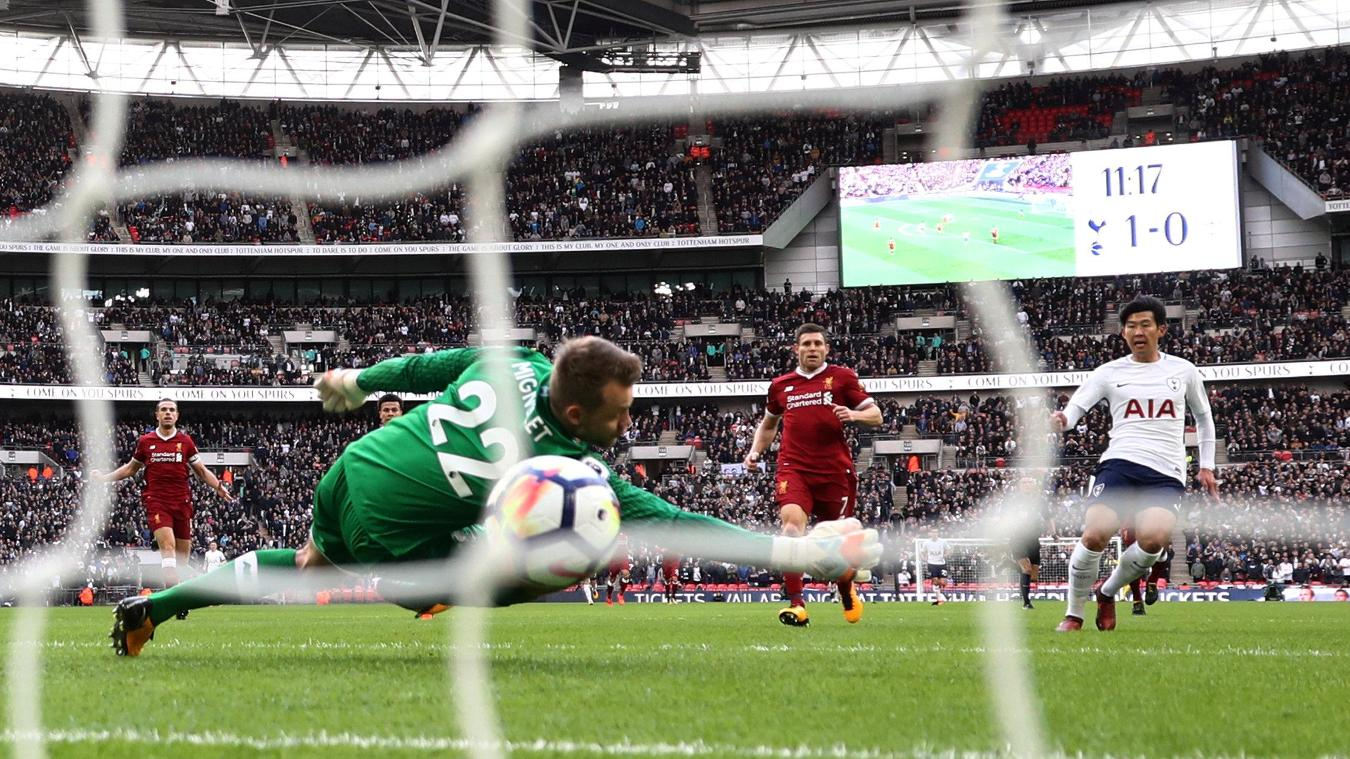 Son Heung-Min finishes past Simon Mignolet to put Spurs 2-0 up