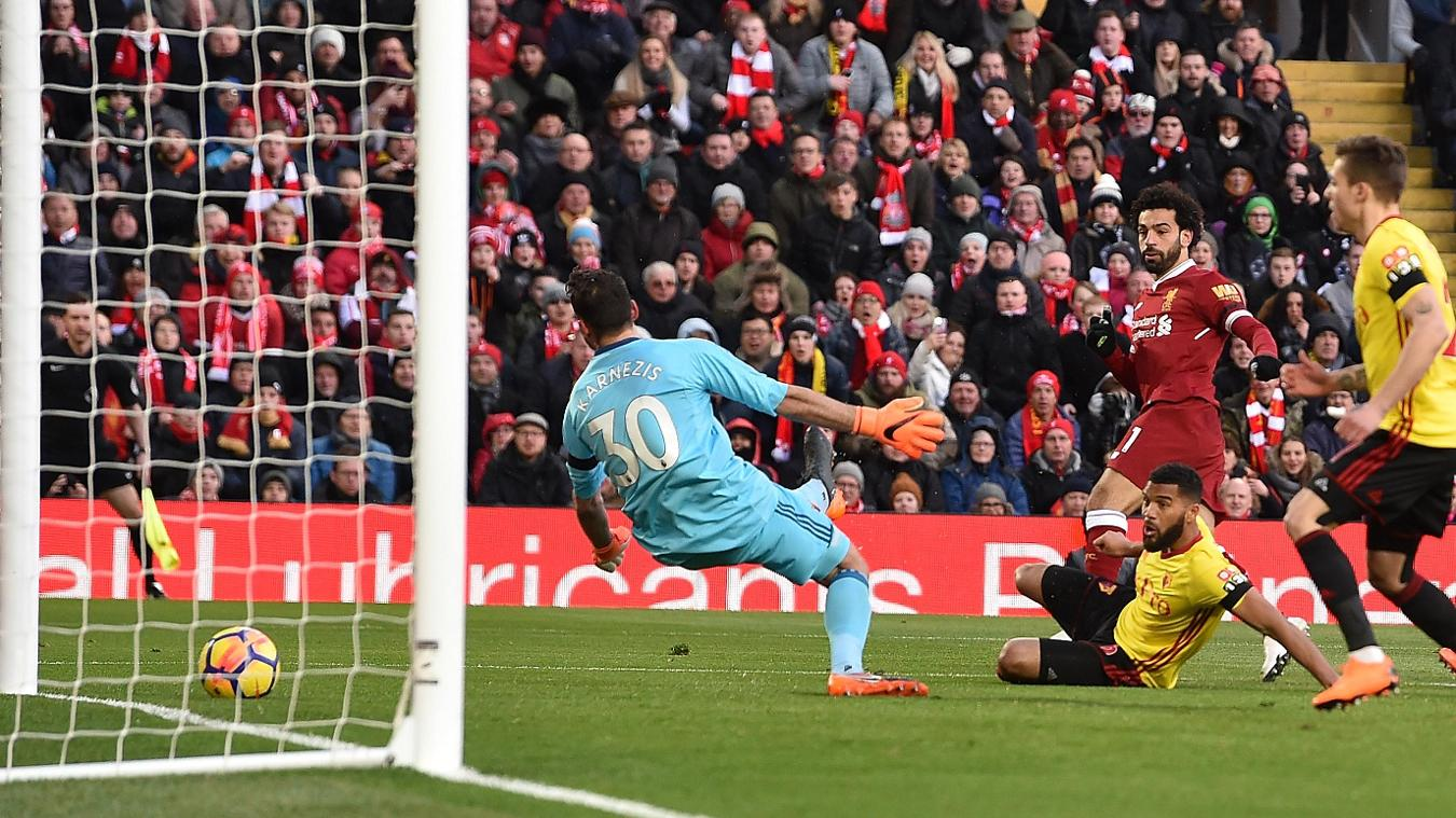 Mohamed Salah gives Liverpool the breakthrough with a low finish