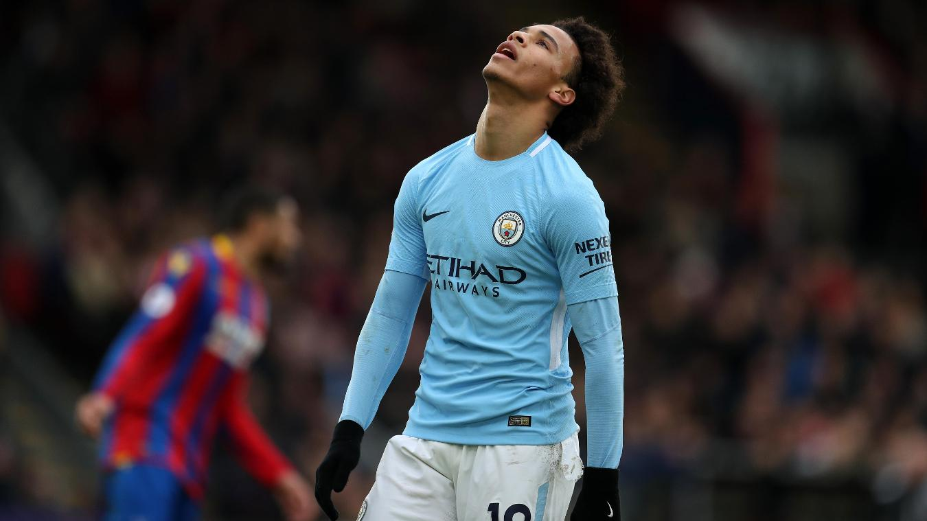 Leroy Sane shows his frustration as Manchester City fail to find a breakthrough