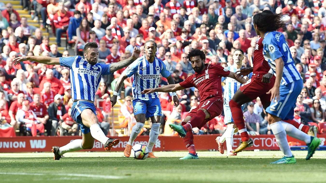 Mohamed Salah spins in the Brighton box and opens the scoring