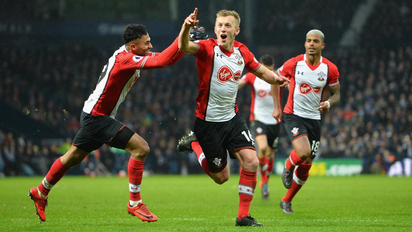 James Ward-Prowse celebrates after putting Southampton 3-1 up with a free kick