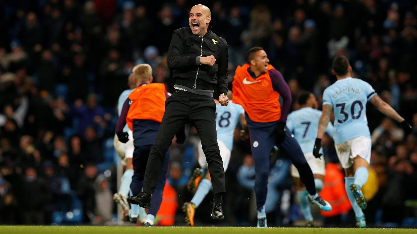Pep Guardiola, Manchester City celebration in 2017/18