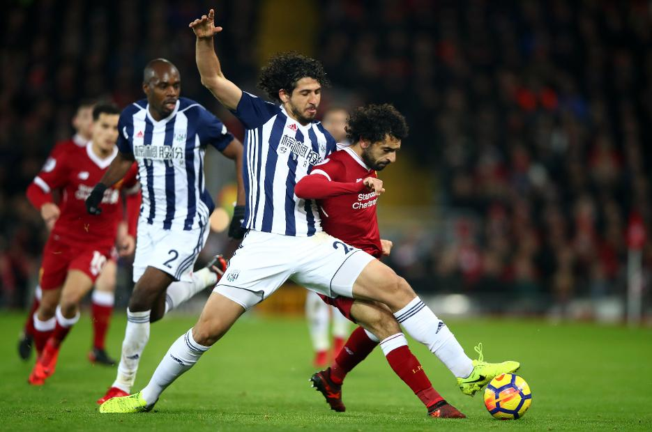 Ahmed Hegazi, of West Bromwich Albion, and Liverpool's Mohamed Salah