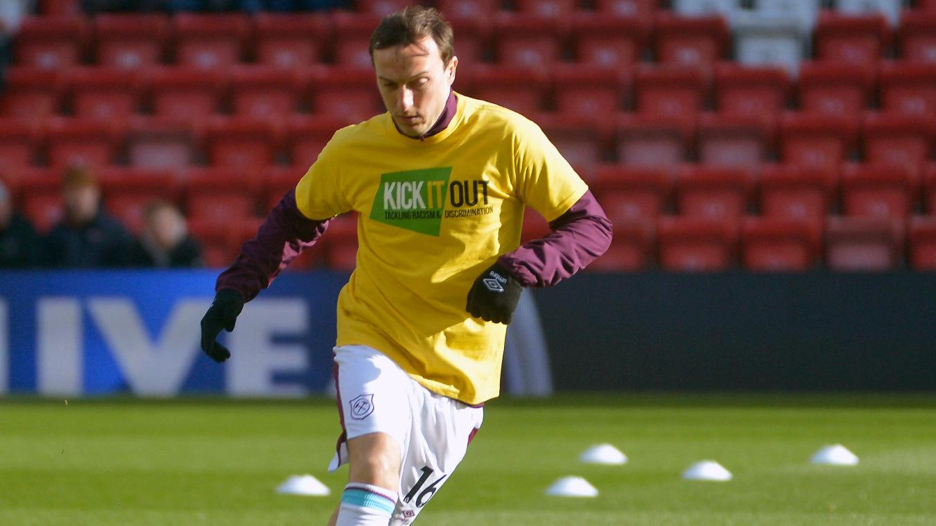 Mark Noble, West Ham, in Kick It Out T-shirt