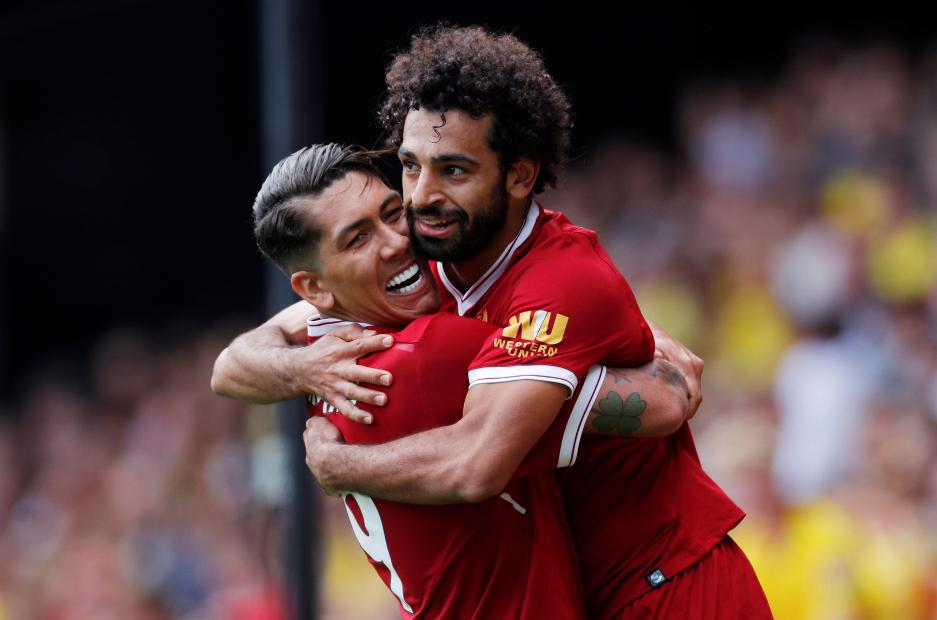 Roberto Firmino and Mohamed Salah, Liverpool