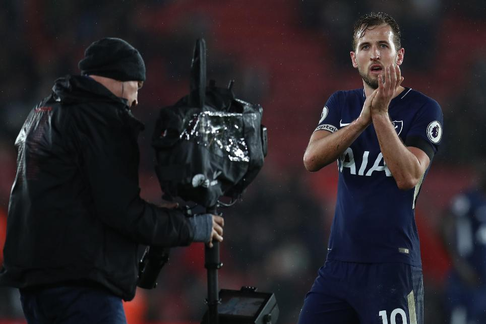 Spurs striker Harry Kane is filmed by the television camera