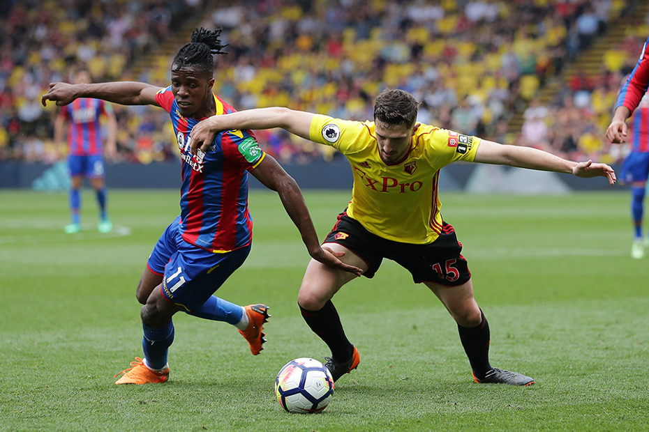 Crystal Palace's Wilfried Zaha in action against Watford