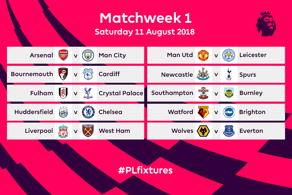 2018/19 Premier League Matchweek 1 fixtures