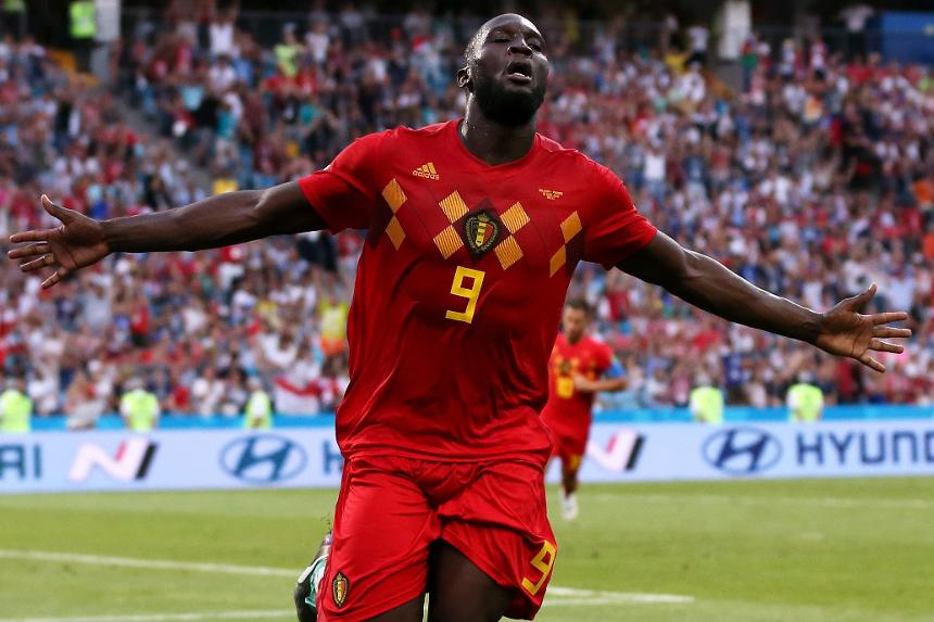 Image result for images of Lukaku scoring for Belgium