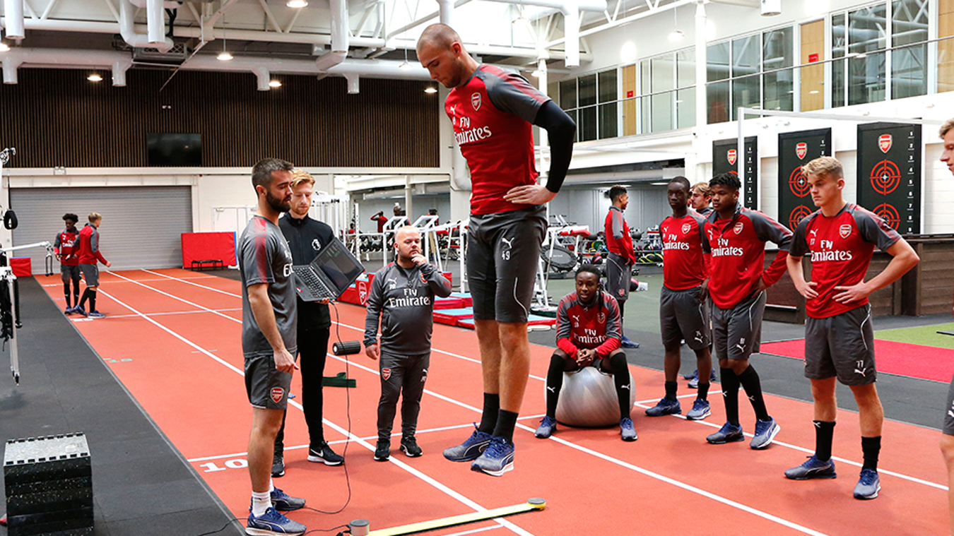 Arsenal players during a training session