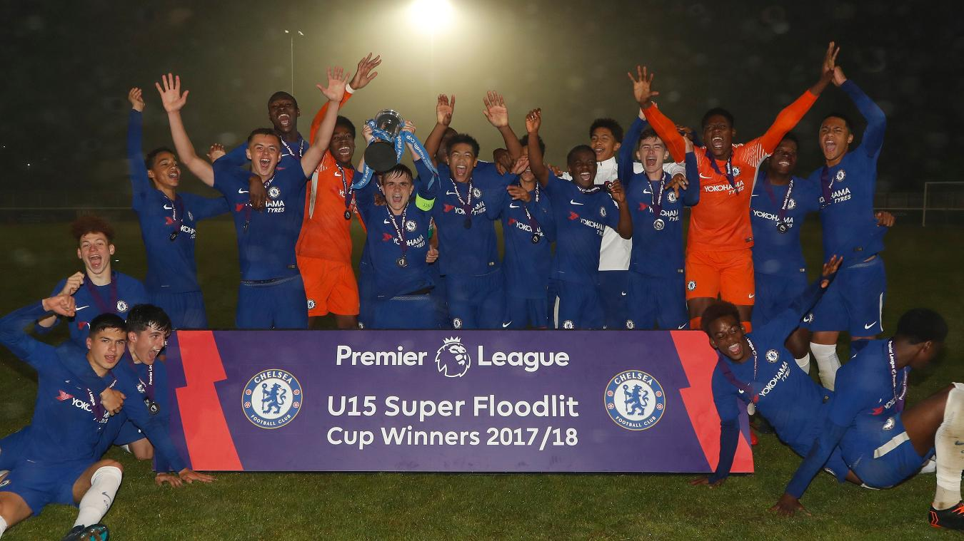 Chelsea, winners of the 2018 U15 Super Floodlit Cup Final