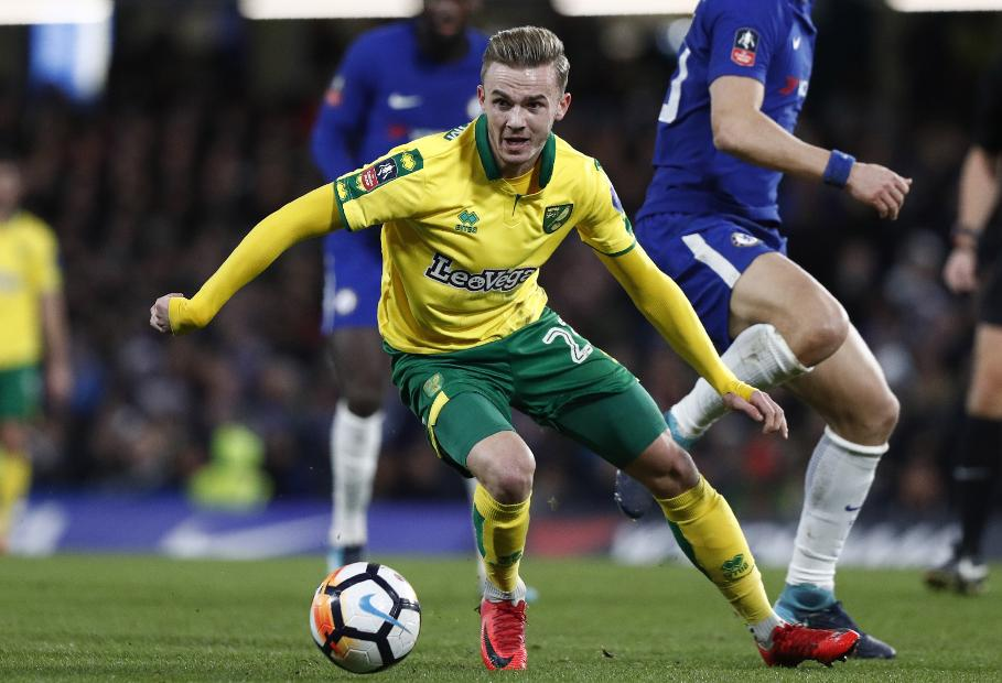 James Maddison playing for Norwich City