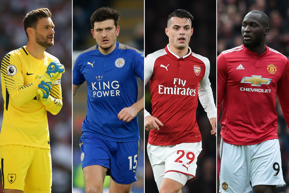 Hugo Lloris, Harry Maguire, Granit Xhaka and Romelu Lukaku