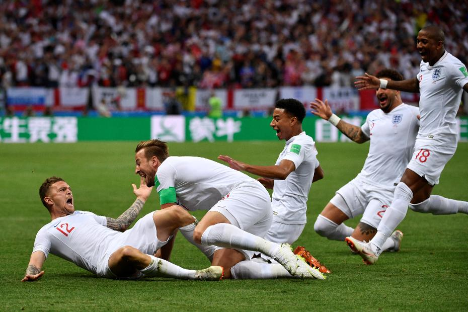 World Cup England Kieran Trippier celebrates goal